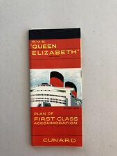 Cunard Line RMS Queen Elizabeth Color First Class Deck Plan 2/66