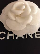 AUTHENTIC CHANEL LARGE WHITE FABRIC CAMELLIA  FOR MAKING BROOCH OR PIN EXCELLENT