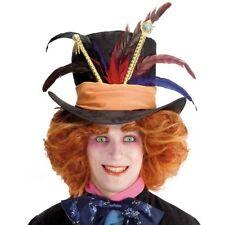 Haut-de-forme en tissu noir avec ruban orange plume et septre chapelier fou