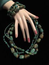Silpada SET Turquoise Sterling Silver Necklace N1299 & Stretch Bracelets B1640
