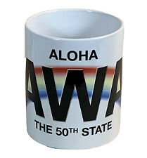 Aloha Hawaii coffee mug 50th state cup white with colorful rainbow NEW IN Box
