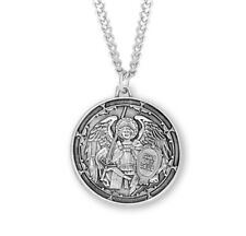 "Saint Michael the Archangel Round Sterling Silver Medal  + 24"" Chain (S3408)"