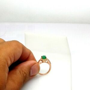 Rose Gold Plated Emerald Stackable Ring 925 Sterling Silver Pave Diamond Ring