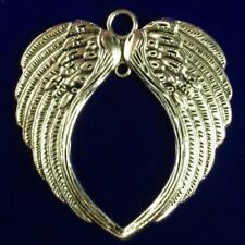 R51364 Carved Tibetan Silver Wing Pendant Bead 68x64x3mm