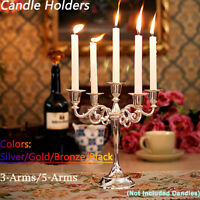 Classic Vintage 3/5 Arms Alloy Pillar Table Candle Holder Stand Candelabra -