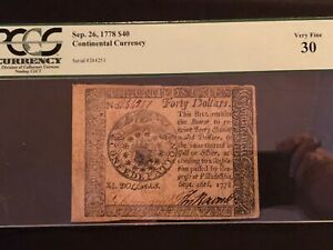 Continental Currency Sep. 26, 1778 $40 Very Fine 30