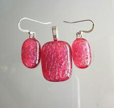 Red Pink Handmade Fused Dichroic Art Glass Jewelry Matching Pendant Earrings Set