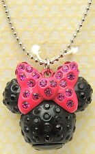 DISNEY Minnie Mouse Head Necklace w/ Enamel Rhinestones Cute Silver Tone