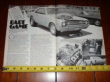 1968 DODGE HEMI DART - FACTORY RACE CAR  - ORIGINAL 1979 ARTICLE