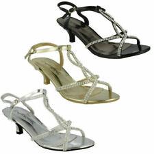 Ladies Silver Anne Michelle Diamante Strappy Shoes UK Sizes 3-8 F10300