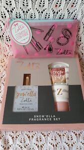 ZOELLA Makeup Bag Case PURSE + SNOWELLA EDT Mist Perfume & Body Lotion Gift Set