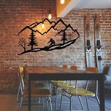 Art mural en métal, skieur arbre montagne, décoration murale en métal