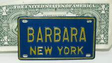 Vintage New York 1969-73 Mini Bike Vanity Metal License Plate ~BARBARA~Free ship