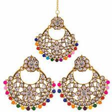 Indian Bollywood Wedding Gold Pearl Hair Head Chain Maang Tikka Bridal Jewelry