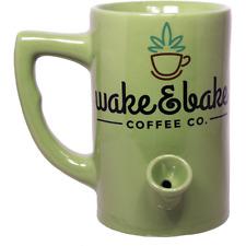 Coffee Tea Mug / Cup with Built in Pipe / Smoke / Smoking / Green Wake & Bake Co