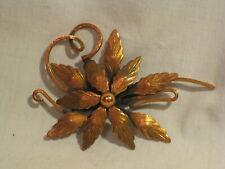 vintage Renoir brooch large pin ornate copper flora flower floral jewelry