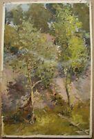 Russian Ukrainian Soviet Oil Painting Impressionism landscape village trees