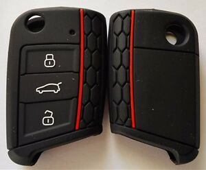 BLACK SILICONE FLIP CAR KEY COVER for VW VOLKSWAGEN MK7 GOLF