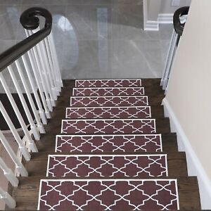 Lattice Stair Treads - Anti-Slip Carpet Strips for Indoor Stairs, Pack of 4/7/13