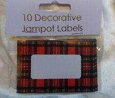 EASYBAKE Large 8cm Jam JAR Pot LABELS TARTAN Christmas? self adhesive Gift tag?