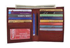 Burgundy Mens RFID Genuine Leather Bifold Wallet Slim Hipster Credit Card & ID