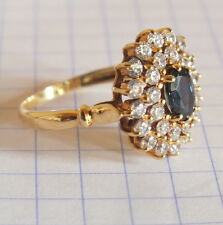 bague or 9 k saphir et 2 rangees brillant gold ring