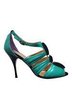 JUST CAVALLI Vintage Style Emerald Green Peep Toe Stiletto Heels (39)