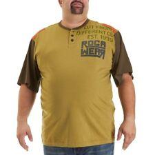 NEW ROCAWEAR MEN'S BIG & TALL GREEN COLOR BLOCK HENLEY TEE SHIRT 6X 6XL 6XB $40