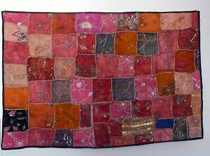 Tenture Tissu Mural Jeté de Lit Chemin Table Indien Patchwork Artisanat Gujarat