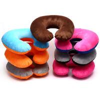 1Pc Inflatable Travel Neck Pillow PVC U-Shape Soft Pillow For Car Headrest Ai TE