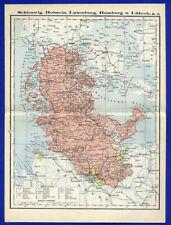 Alte Landkarte Ostsee Schleswig Holstein Hamburg Lübeck 1890