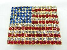 July 4th Patriotic Decoration USA American Flag Belt Buckle Swarovski Element