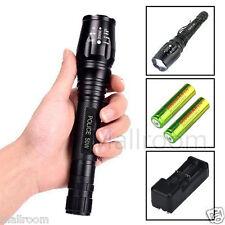 Polizei Swat Led Cree Taschenlampe Zoom XM-L T6 5000LM 2x 18650 Akku EU Lade Kit