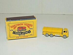 Vintage Moko Lesney Matchbox GMW No 11 Yellow ERI Petrol Tanker w/ Original  Box