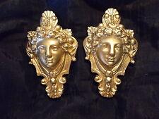 DECORATIVE HANGING FACES ORNATE  MOULDINGS ANTIQUE GOLD MIRROR FURNITURE