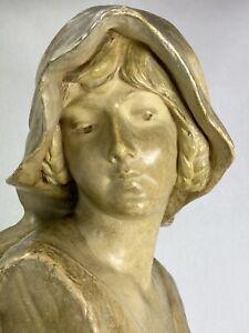 SUPERBE BUSTE FEMME TERRE CUITE ART NOUVEAU 1900 GOLDSCHEIDER B. HANIROFF SIGNEE