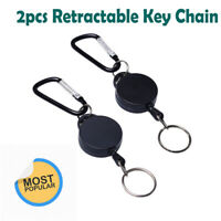 2pcs Rope Pull Ring Retractable Key Chain Recoil Keyring Heavy Duty Steel New