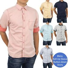 Mens Casual Shirts Button Down Striped Contrast Collar ROLL UP Sleeve