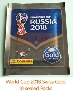 Panini World Cup 2018 Swiss Gold Edition - 10 Sealed Sticker Packs