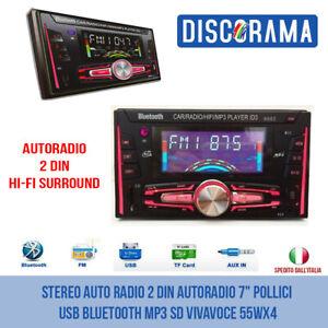 "STEREO AUTO RADIO 2 DIN AUTORADIO 7"" POLLICI USB BLUETOOTH MP3 SD VIVAVOCE 55WX4"