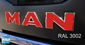 W.B.A. Aufkleber passend für Man Emblem TGX Euro 6 ab Bj 2013 Farbe rot RAL3002