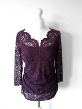 Kaliko Woman Purple Stretchy Lace Maternity Top Blouse Size 12 Uk Immaculate