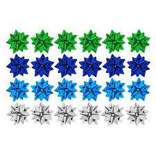 Confezione di 24 Regalo di Natale Metallico Regalo Fiocchi - 4cm (Argento, Blu, Verde)