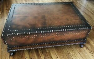 Polo Ralph Lauren Leather Wrapped Wood Trunk Coffee Table Two Drawers Claw Foot