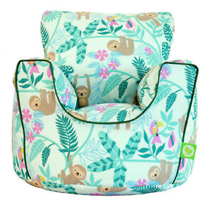 Cotton Green Sloth Bean Bag Arm Chair with Beans Toddler Size From Bean Lazy