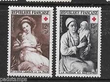 FRANCE 1953 12fr+3fr & 15fr+5fr Red Cross fund pair vf mint 1192 - 1193
