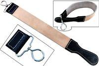 Real Leather Strop Belt for Straight Razor sharpening Cut Throat Barber Shaving