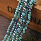 200pcs 4mm Round Glass Loose Spacer Beads Porcelain Lake Blue Half Colorized
