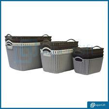 Storage Basket Box Plastic Wicker Crate School Office Kitchen Tidy Organiser