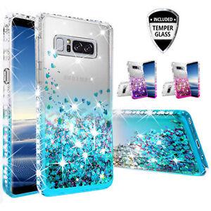 Samsung Galaxy Note 5 Case, Slim Rhinestone Crystal Bling Liquid Glitter Cover